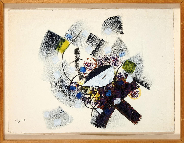 Le masque et la plume, 1992, technique mixte, 77 x 57 cm