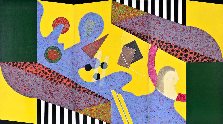 Sonneur essoufflé, 1993, triptyque, acrylique, 162 x 291 cm