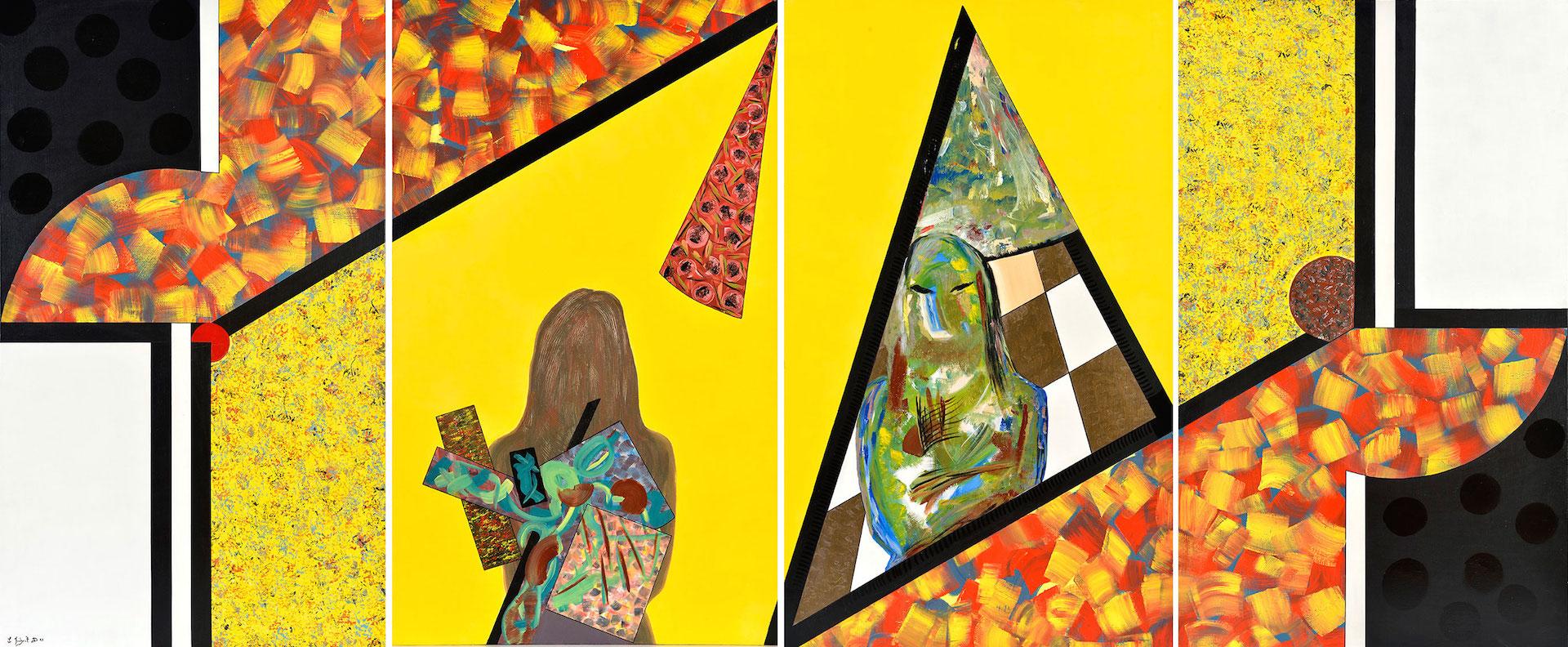 Le théâtre et son double, 1993, quadriptyque, 162 x 388 cm
