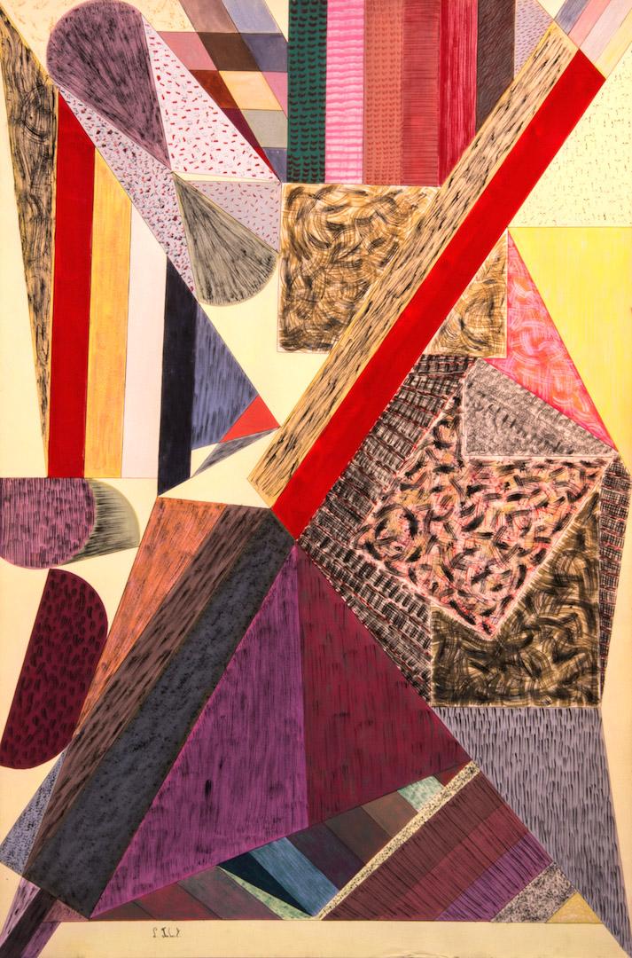 Parcours défaillant, 1986, aquarelle et fusain sur papier, 115 x 80 cm
