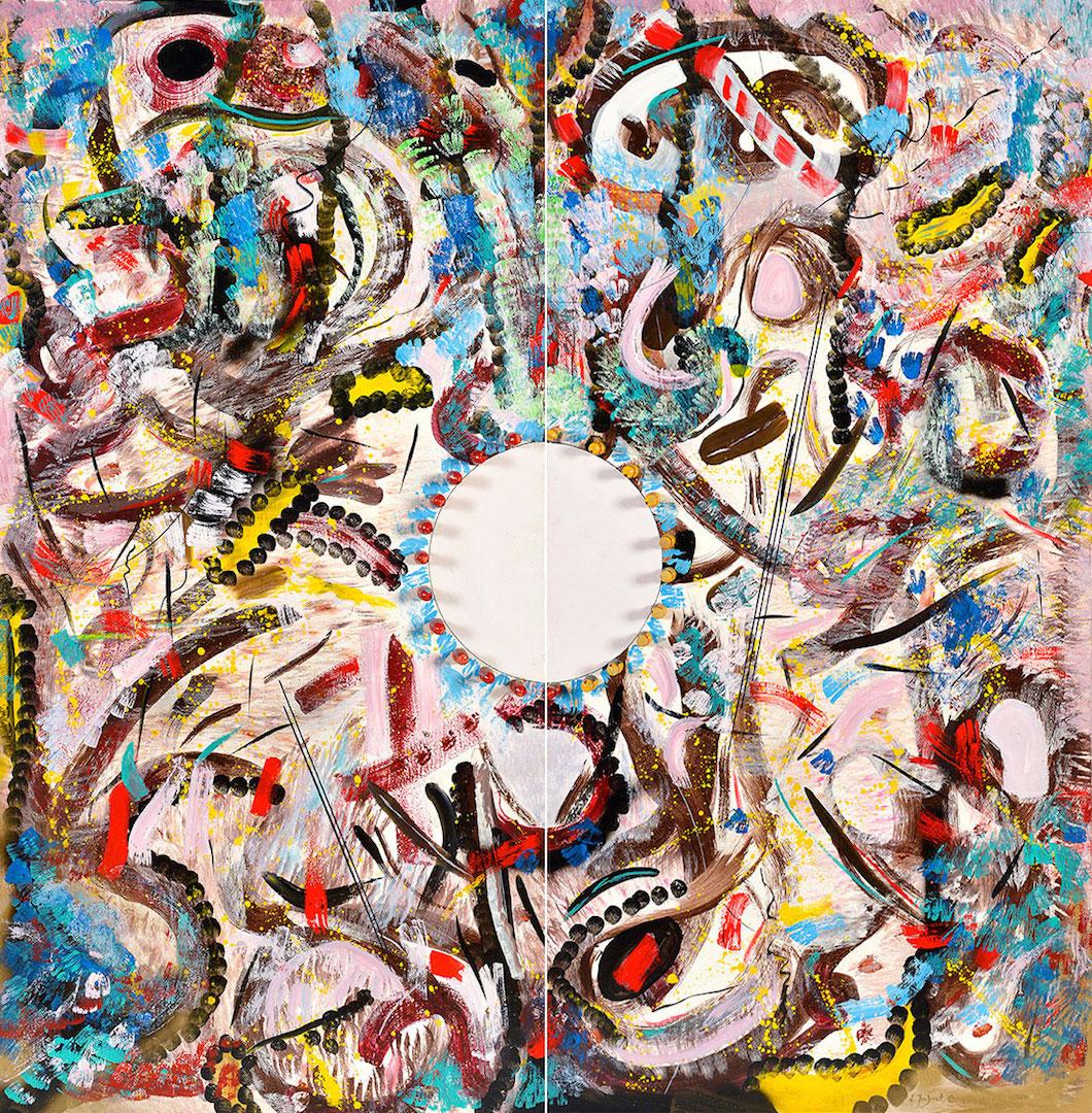 Echec et Mat, diptyque, acrylique et bois, 195 x 194 cm