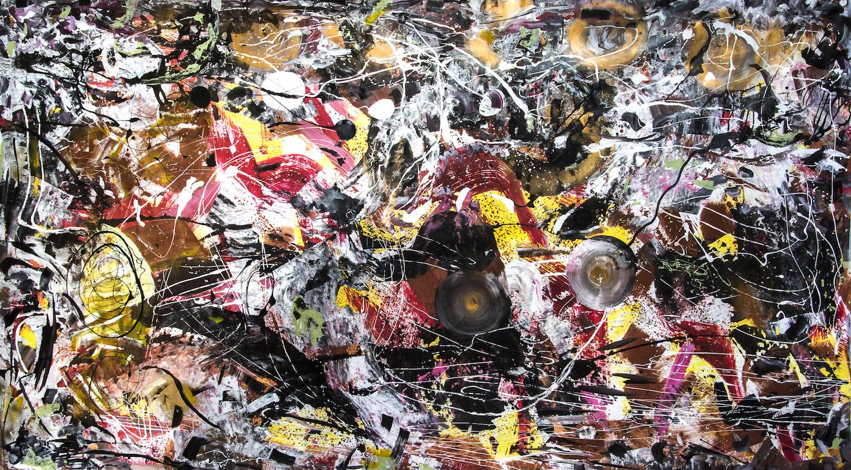 Texture dans l'espace temps, 2014, acrylique, 220 x 380 cm