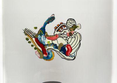 Tour aux figures II, 2013, peinture sur verre