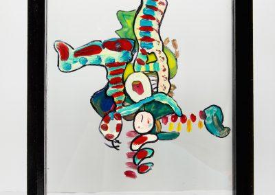Clown, 2013, peinture sur verre