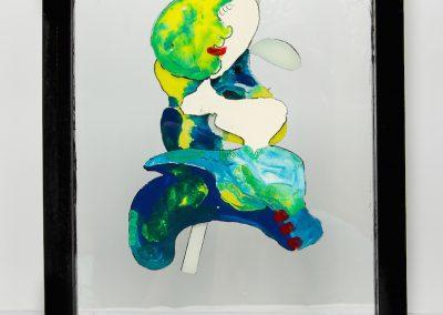 Visage lunaire, 2013, peinture sur verre