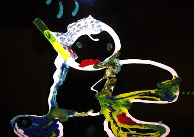 Singe savant, 2014, peinture sur verre